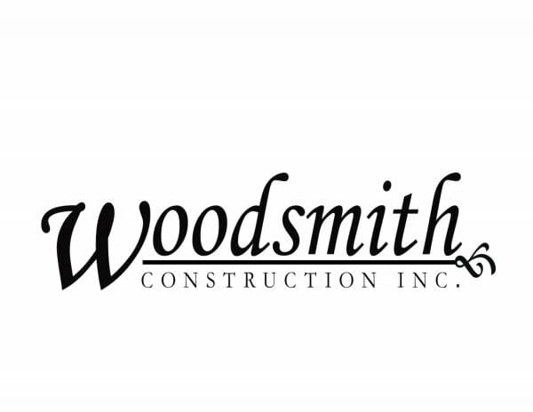 Woodsmith Construction Logo with black lettering and a white background