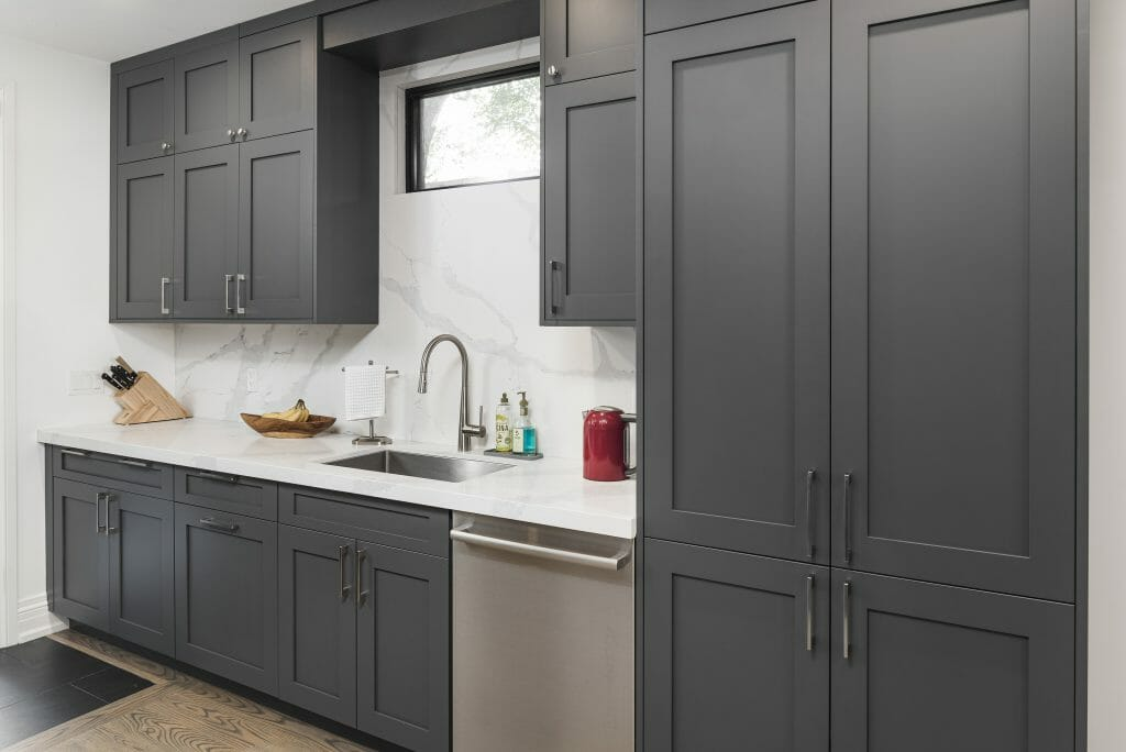 Bain ave design build project grey shaker kitchen cabinets